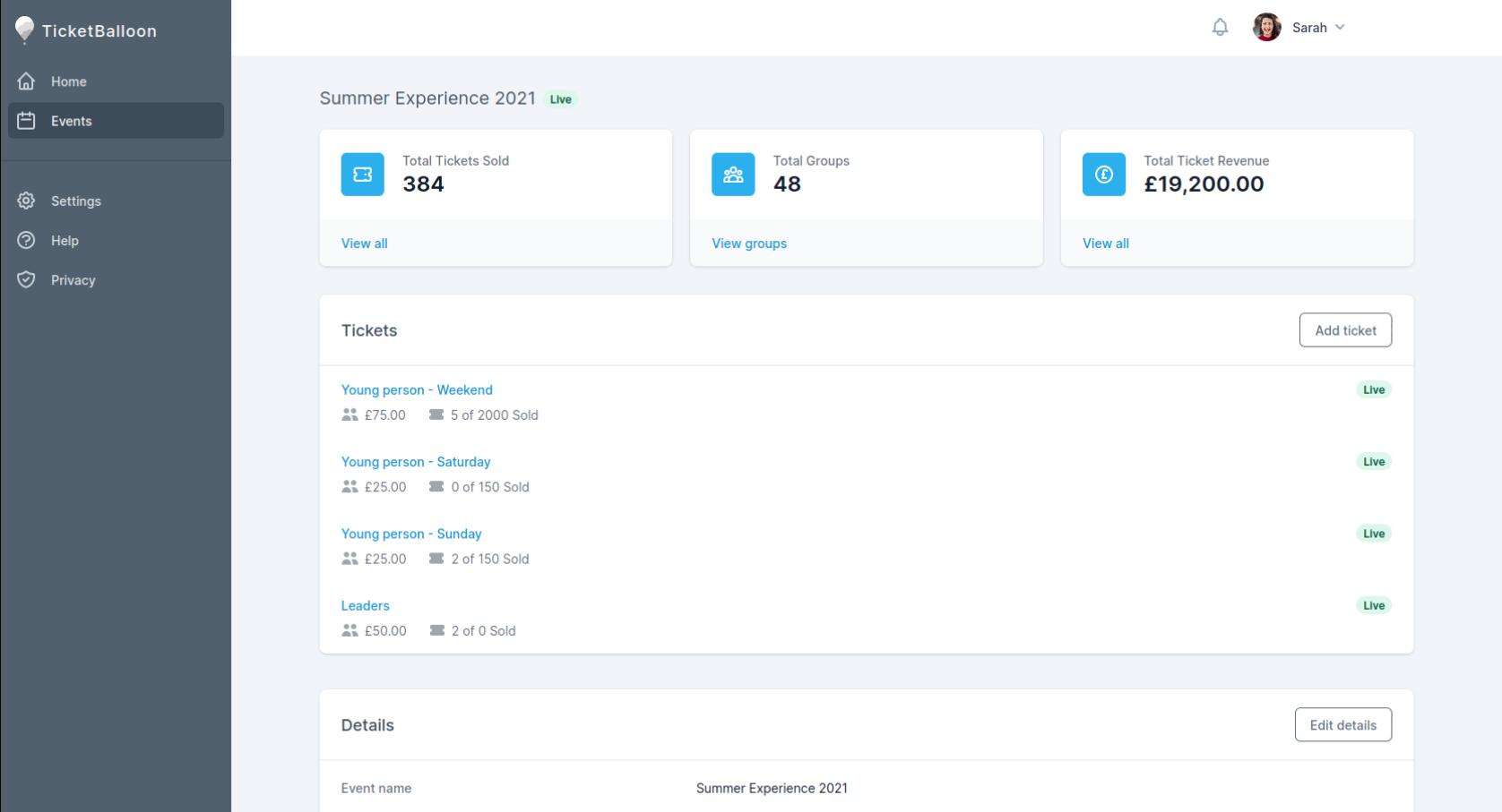 Screenshot of the TicketBalloon dashboard